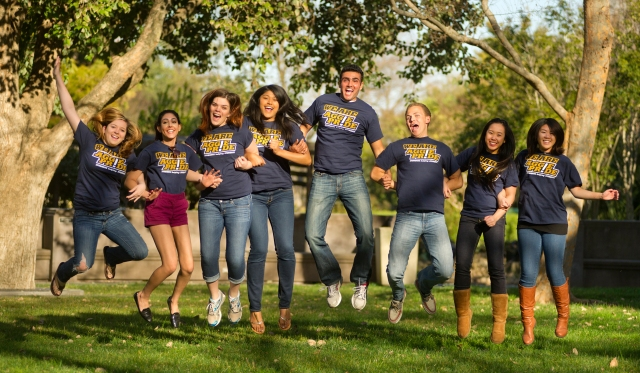 UC Davis Students showing their aggie pride