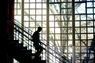 Student on Library Staircase
