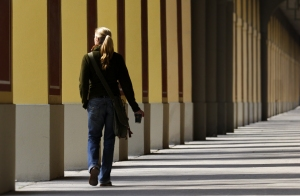 Student walking alone