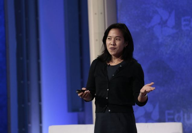 Research psychologist Angela Duckworth discusses her approach to teaching students grit and self-control at the September 2012 NBC News Education Nation summit in New York.  PHOTOGRAPH BY CHARLES SYKES, NBC. GETTY IMAGES